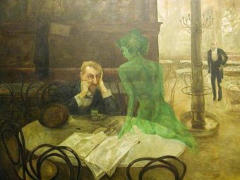 painting.absinthe and green fairy